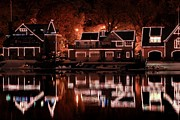 Boathouse Row Posters - Boathouse Row Reflection Poster by Deborah  Crew-Johnson