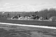 Schuylkill Prints - Boathouse Row winter b/w Print by Jennifer Lyon