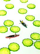 River Scenes Prints - Boating among cucumber slices miniature art Print by Paul Ge