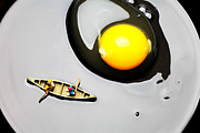 Toy Boat Digital Art Prints - Boating around egg little people on food Print by Paul Ge