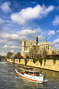 French Gothic Architecture Posters - Boating by Notre Dame de Paris  Poster by Mark E Tisdale
