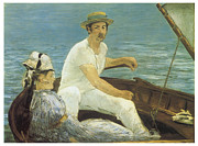 Man And Woman Paintings - Boating by Edouard Manet