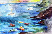 Cinque Terre Paintings - Boating in Italy Watercolor  by Ginette Callaway