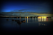 Sailboats Docked Posters - Boating - The Marina at Night Poster by Paul Ward