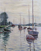Sailboat Paintings - Boats Anchored on the Seine by Gustave Caillebotte