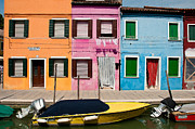 Houses Greeting Cards Prints - Boats And Colored Houses Burano Italy Print by Xavier Cardell
