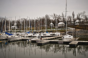 Sailboats In Water Posters - Boats and Cottages on Overcast Day Poster by Greg Jackson