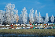 Lakescape Tapestries Textiles - Boats and Frost by Ari Salmela