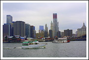 New York City Skyline Originals - Boats and New York City Skyline by Dora Sofia Caputo