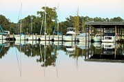 Boats And Reflections Print by Carolyn Ricks