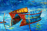Acrylic. Green Prints - Boats And Sea Print by Ivailo Nikolov