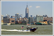 Hi-rise Framed Prints - boats and ships on the Hudson  6 Framed Print by Geri Scull