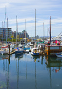 Cloud And Ocean Art Posters - Boats At Fishermans Wharf Marina Victoria British Columbia Poster by Ben and Raisa Gertsberg