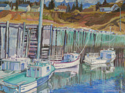 Harbour Mixed Media Prints - Boats at Halls Harbour Print by Janet Ashworth