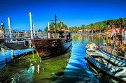 Sea Of Galilee Prints - Boats at Kibbutz on Sea Galilee Print by David Morefield