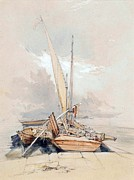 Serene Drawings Prints - Boats at Quayside Lake Geneva Print by James Holland