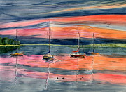 Sunset On The Lake Prints - Boats at Skaneateles Lake NY Print by Melly Terpening