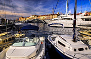 Docked Sailboat Photo Framed Prints - Boats at St.Tropez Framed Print by Elena Elisseeva