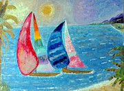 Sea Reliefs Prints - Boats at Sunset 2 Print by Vicky Tarcau