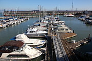 Sail Boats Prints - Boats at The San Francisco Pier 39 Docks 5D26005 Print by Wingsdomain Art and Photography