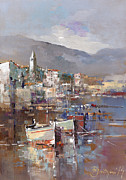 Sail Paintings - Boats By The City by Branko Dimitrijevic