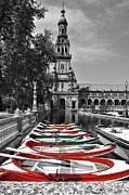 Row Digital Art - Boats by the Plaza de Espana Seville by Mary Machare