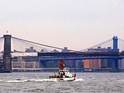 Bridges Framed Prints - Boats - Coast Guard Cutter Near Brooklyn Bridge Framed Print by Susan Savad