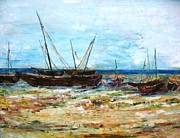 Impressionistic  On Canvas Paintings - Boats by Doris Cohen