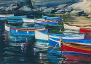 Boats Pastels Posters - Boats Early Morning Poster by Susan Frank
