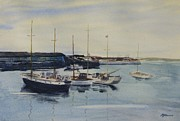 Waterside Paintings - Boats In A Harbour by Martin Howard