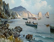 Harbor Paintings - Boats in a Rocky Cove  by Edward Henry Potthast