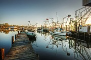 Shrimp Boat Prints - Boats in Billys Harbor Print by Michael Thomas