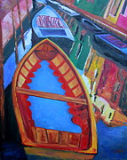 Boats In Water Paintings - Boats in Canal in Burano by Barbara Lynn Dunn