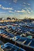Fishing Boat Sunset Posters - Boats in Essaouira Morocco harbor Poster by David Smith