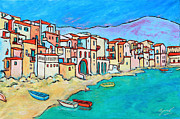 Xueling Zou Acrylic Prints - Boats In Front Of Buildings VIII Acrylic Print by Xueling Zou