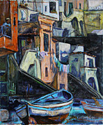 Balconies Paintings - Boats in front of the Buildings I  by Xueling Zou