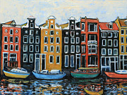 Netherlands Paintings - Boats In Front of the Buildings VI by Xueling Zou