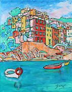 Riomaggiore Paintings - Boats In Front Of The Buildings X by Xueling Zou
