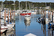 Boats In Harbor Prints - Boats in Huntington Harbor Print by Susan Jensen
