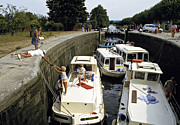 Midi Framed Prints - Boats in lock Canal Du Midi France Framed Print by David Davies