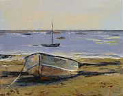 Oleo Framed Prints - Boats in Provincetown Harbor Framed Print by Michael Creese