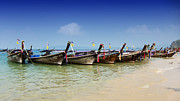 Blue Green Wave Framed Prints - Boats in Thailand Framed Print by Zoe Ferrie