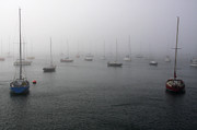 Sail Boats Posters - Boats In The Mist Poster by Aidan Moran