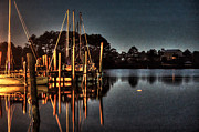 Shrimp Boat Prints - Boats in the Moon Light Print by Michael Thomas