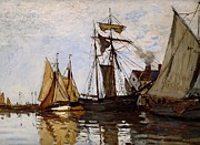 Frigates Painting Prints - Boats in the Port of Honfleur Print by Claude Monet - L Brown