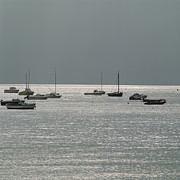 Filled Prints - Boats in the sea. Normandy. France. Europe Print by Bernard Jaubert