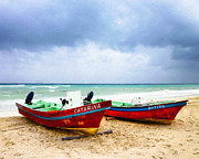 Stormy Weather Digital Art Posters - Boats On A Stormy Beach In Mexico Poster by Mark E Tisdale