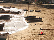 Vacation Digital Art Prints - Boats on beach 02 Print by Pixel  Chimp