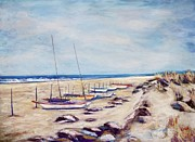 New Jersey Pastels Originals - Boats On Beach by Joyce A Guariglia