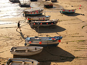 Cornwall Digital Art Prints - Boats on beach Print by Pixel  Chimp